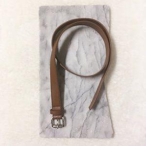 Michael Kors Leather Light Camel Belt Silver Buckl